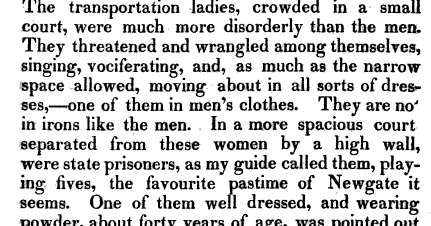 Description of Female Prisoners in Newgate Prison by Louis Simond in 1811