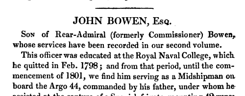 Naval Career of John Bowen